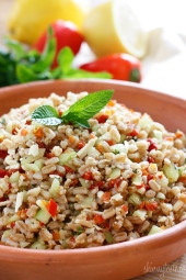 This salad combines farro with Mediterranean ingredients such as cucumbers, lemon juice, feta and mint for a delicious salad you can enjoy as a side dish, or even for lunch! This would be perfect to bring to a potluck or BBQ this Memorial Day weekend!