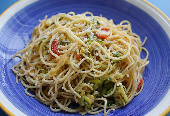 Angel hair tossed with summer zucchini and tomatoes fresh from the garden. The perfect meatless meal you'll be craving again and again. Serve this with plenty of Parmigiano Reggiano!