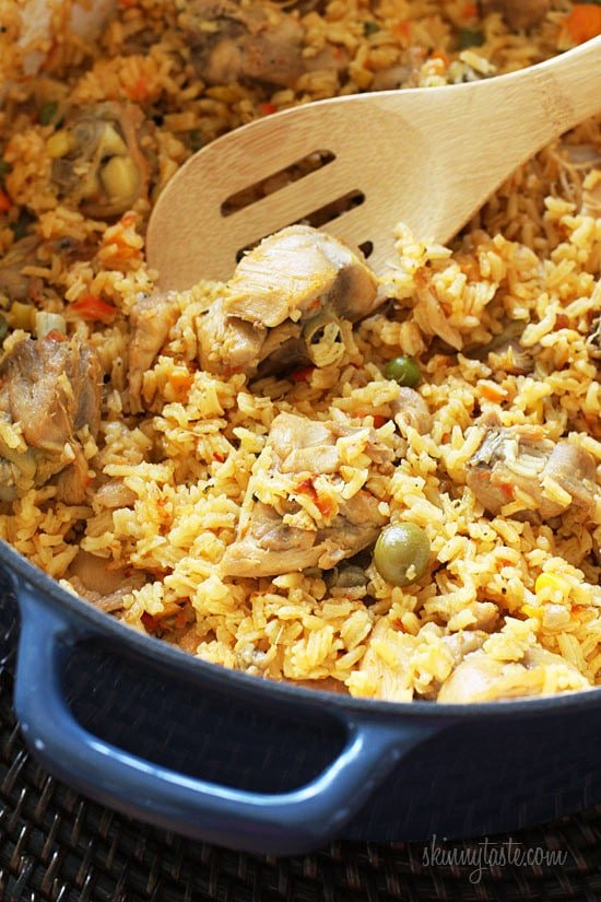 Mom's Spanish chicken and rice, otherwise known as arroz con pollo is a delicious one pot meal the whole family will love.