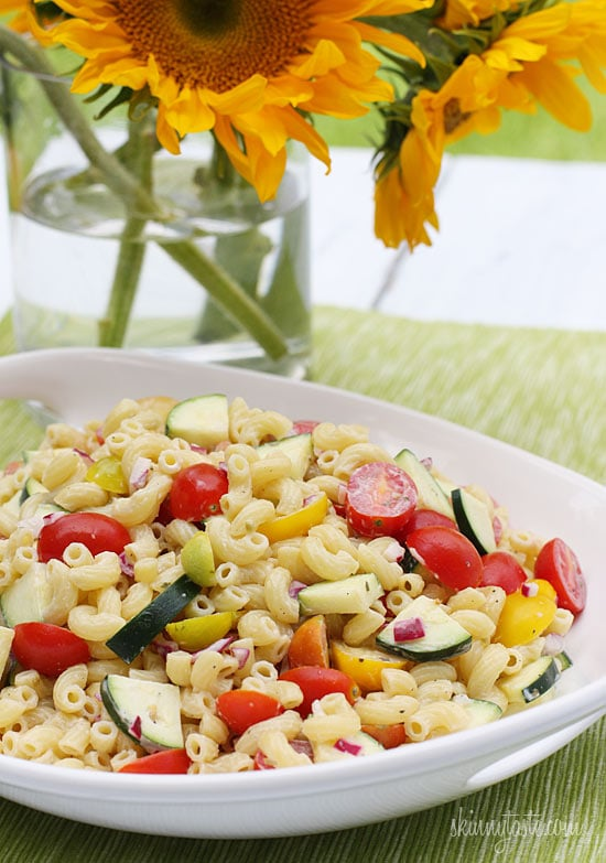 Summer Macaroni Salad with Tomatoes and Zucchini