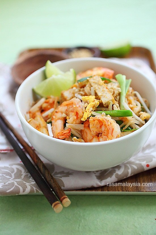 Shrimp Pad Thai on the Lighter Side | Skinnytaste
