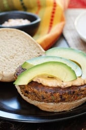 One bite of this spicy black bean burger with spicy chipotle mayo and creamy avocado and you won't miss the meat! Yes, these were good enough to please even the adult carnivore's in my home (a bit too spicy for my kids).