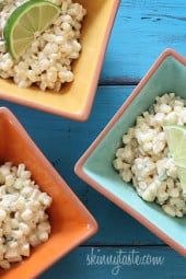 Sweet summer corn lightly coated with lime infused mayonnaise, a touch of hot chili powder and cojita cheese. Also known as the Mexican street corn salad, elote