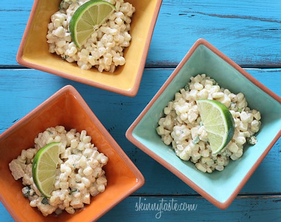 Sweet summer corn lightly coated with lime infused mayonnaise, a touch of hot chili powder and cojita cheese. Also known as theMexican street corn salad, elote