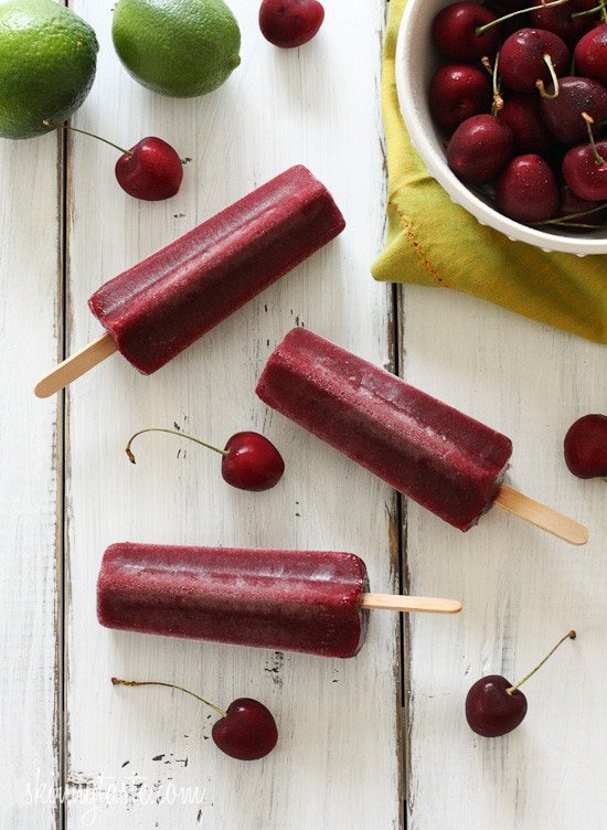 Cherry Lime Ice Pops – just 4 ingredients!