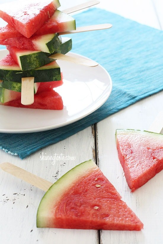 Watermelon on a stick, isn't that the coolest idea? No cooking required for this one! Sometimes it's the simplest things that make the best desserts.