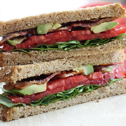 BLT with Avocado sandwich for the bacon lovers in your life! Bacon, lettuce, tomato and avocado on toasted whole grain bread, a quick healthy lunch.
