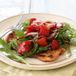 Baked-Chicken-Milanese-with-Arulua-and-Tomatoes