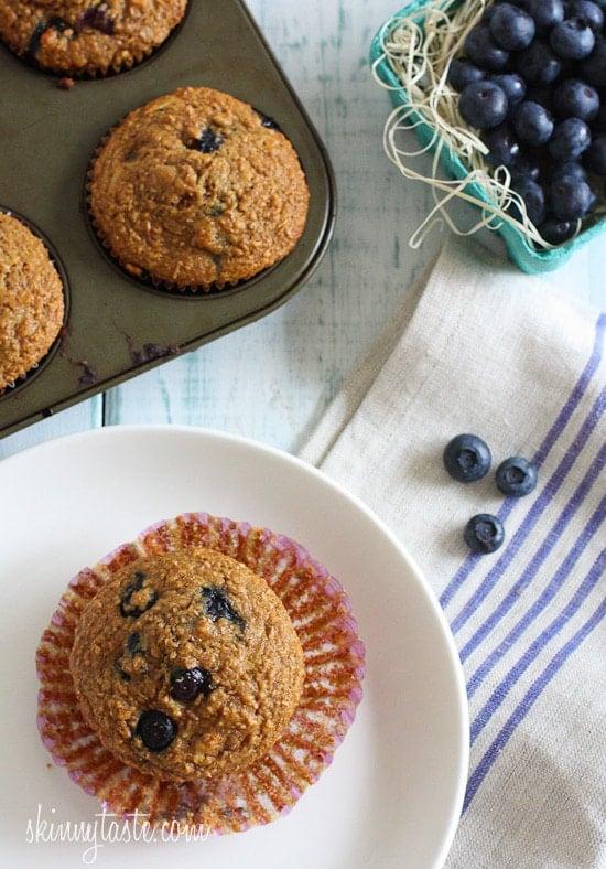 Honey Coconut Blueberry Bran Muffins   Skinnytaste
