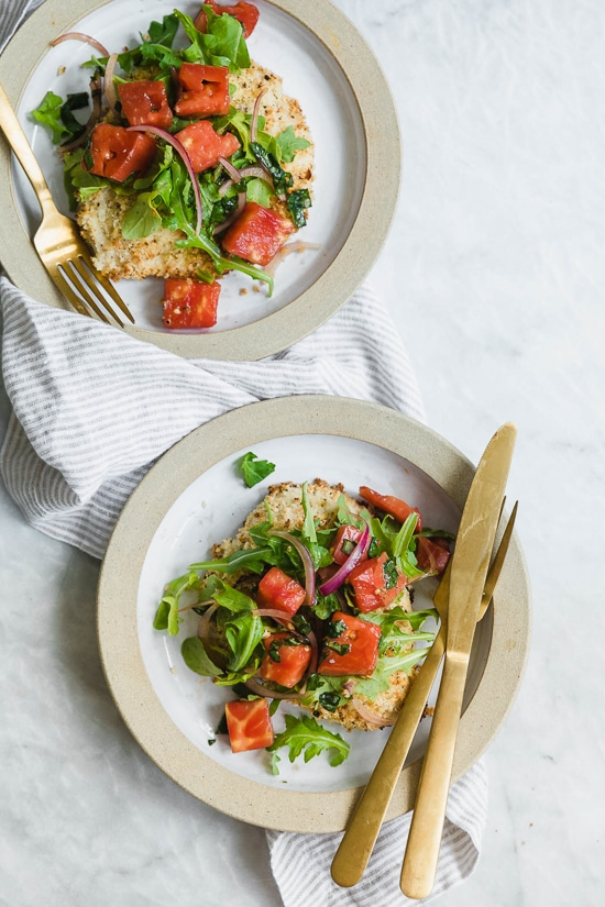 Baked Chicken Milanese With Arugula And Tomatoes Skinnytaste