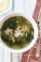 Escarole Soup with Turkey Meatballs (Italian Wedding Soup) is a delicious, easy, one-pot meal!