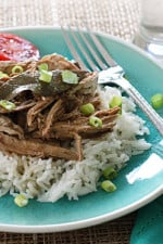 We love Filipino Adobo Chicken in my home and make it once a month, so I thought I would give it a shot as Filipino adobo pulled pork in the Slow Cooker. The results are just so darn easy to make and everyone loves it!