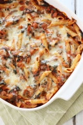 Cheesy baked pasta made with Italian chicken sausage, mozzarella, ricotta, Pecorino Romano and spinach (but don't worry, no one will care about the green stuff). Perfect to feed a hungry family!