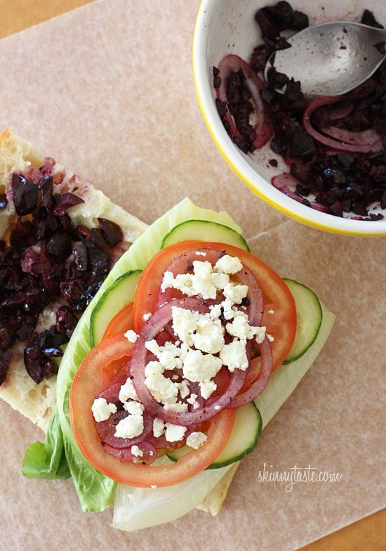 If you love a Greek Salad, then you'll love this sandwich. Crisp Romaine lettuce, tomatoes, cucumbers, kalamata olives, feta cheese and red onion on ciabatta bread with a touch of oil and red wine vinegar.