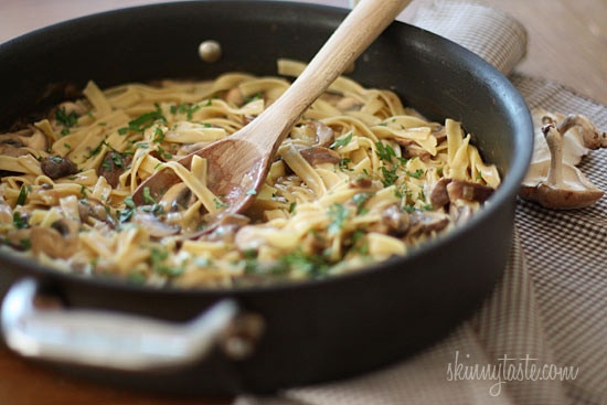 A quick and easy meal, perfect for Meatless Mondays! A stroganoff of Shiitake, Baby Portabella and Cremini mushrooms with noodles in a light creamy sauce.