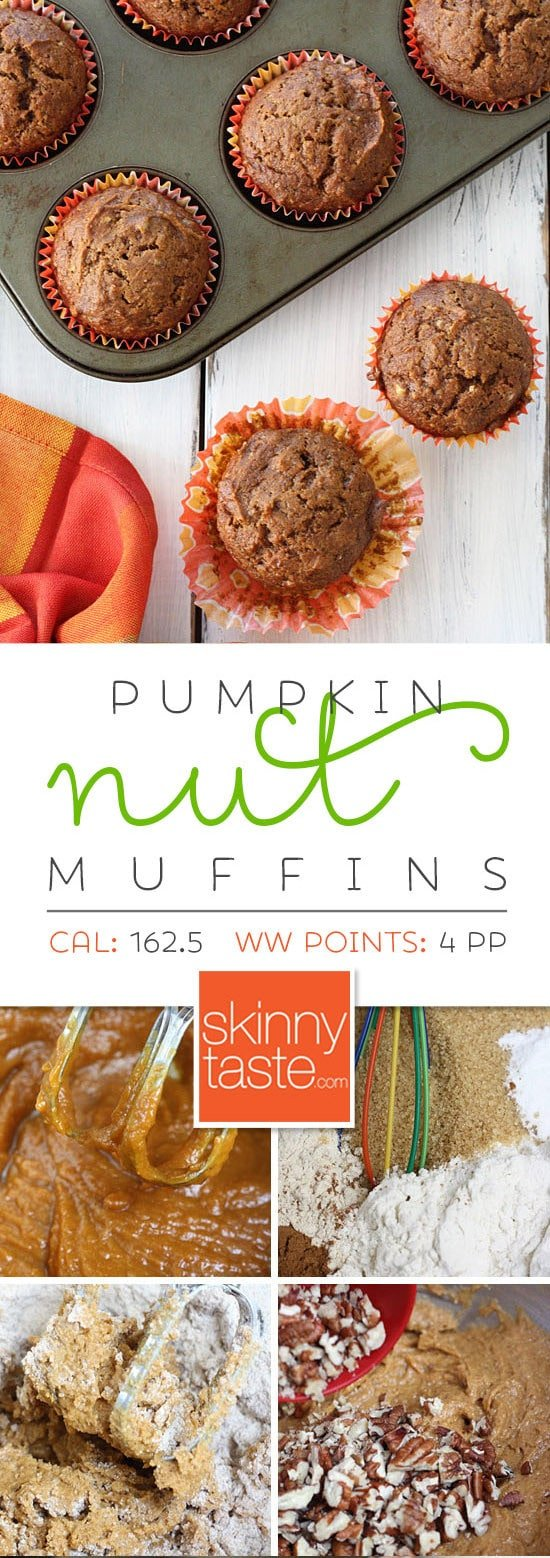 With a chill in the air, weekends in the Fall are perfect for baking treats like these pumpkin nut muffins with added pecans.