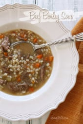 A comforting hearty bowl of soup made with carrots, celery, onions, lean beef and pearl barley.