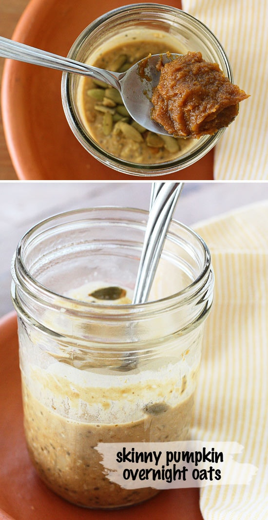 Skinny Pumpkin Overnight Oats in a Jar – no cooking required!