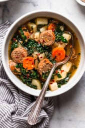 Kale and Potato Soup with Turkey Sausage is an easy, hearty soup made with kale, potatoes, carrots and turkey or chicken sausage.