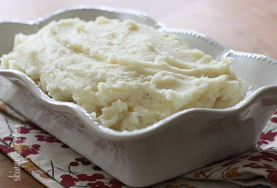 Potatoes and parsnips mashed together with a little garlic, sour cream and butter make a surprisingly tasty side dish. The parsnips add a slightly sweet and spicy taste to the potatoes that I really enjoyed.