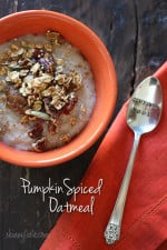 A warm, creamy bowl of pumpkin spiced oatmeal is a great way to start your morning! High in fiber and heart healthy whole grains, this breakfast will fill you up and keep you satisfied until lunch.