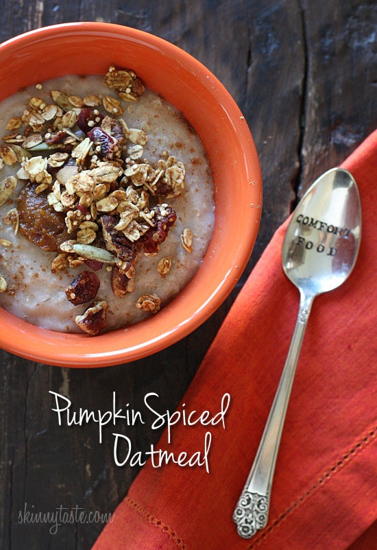 warm, creamy bowl of pumpkin spiced oatmeal is a great way to start ...