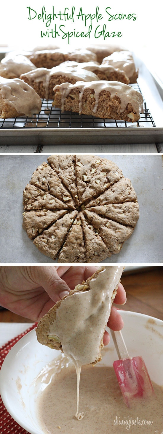 Apple Scones with Spiced Glaze are made with buttermilk, diced apples, cinnamon and spices – perfect for lazy weekends!