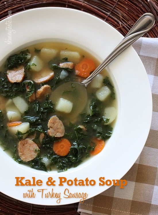 A hearty vegetable soup made with kale, potatoes, carrots and turkey sausage, or even chicken sausage if you prefer.