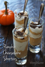 "When you need a ""little"" treat, these delicious pumpkin cheesecake shooters are the perfect sweet fix. Perfect to serve at Halloween party or to add to your Thanksgiving table!"