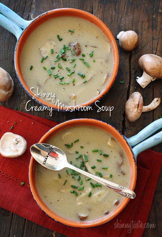 A velvety, creamy mushroom soup that is low in fat, yet rich in flavor. Perfect for lunch with a sandwich on the side, or makes a lovely first course for dinner.