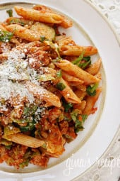 Penne pasta tossed with sauteed brussels sprouts and a quick meat ragu using lean ground turkey and just enough hot Italian pork sausage to enhance the flavor of the sauce.A hearty pasta dish for a crisp Autumn day.