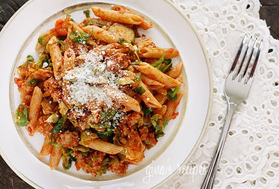 Penne Pasta with Brussels Sprouts In a Ragu
