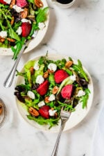 Baby Greens with Goats Cheese, Beets and Candied Pecans
