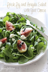 Fresh sweet figs with soft goat cheese over baby arugula topped with a balsamic glaze. A beautiful salad without the fuss, using only 5 ingredients; this salad will make you look like a rock star in the kitchen!