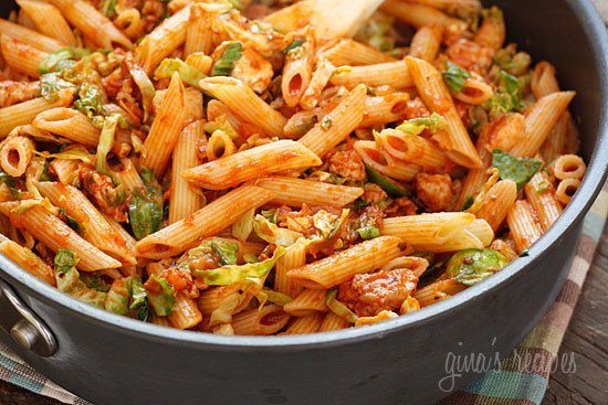Penne pasta tossed with sauteed brussels sprouts and a quick meat ragu using lean ground turkey and just enough hot Italian pork sausage to enhance the flavor of the sauce. A hearty pasta dish for a crisp Autumn day.