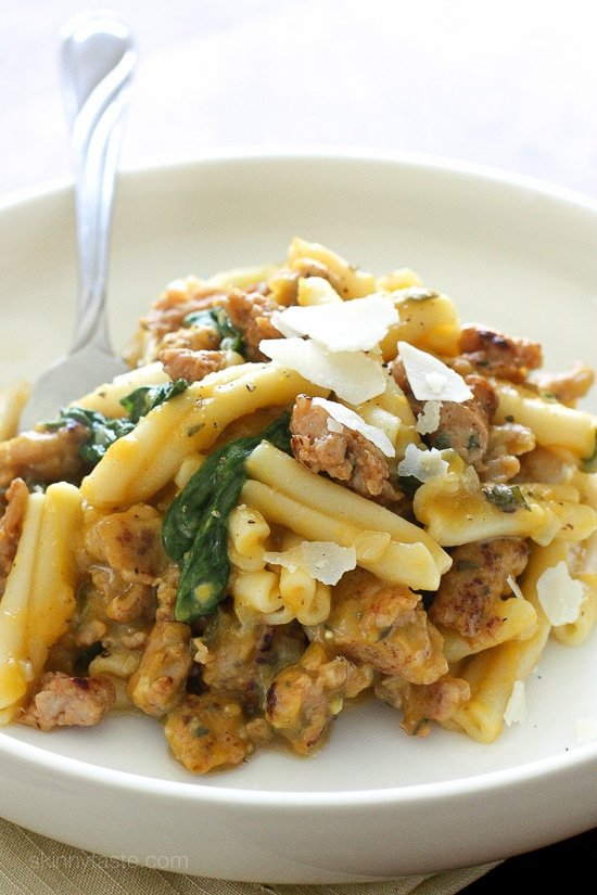 Pasta in a decadent creamy, homemade, butternut squash pasta sauce, with no cream! The spicy chicken sausage and sage is the perfect compliment, this pasta dish is filling and comforting on a chilly night.