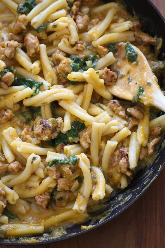 Pasta with Butternut Sauce, Spicy Sausage and Baby Spinach ...
