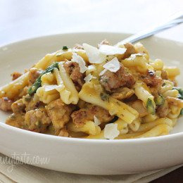 Pasta-with-spicy-sausage-butternut-squash-sauce