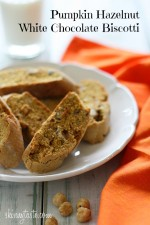 "Hazelnuts, white chocolate and pumpkin spice biscotti are the perfect combination for these crispy ""adult"" cookies."