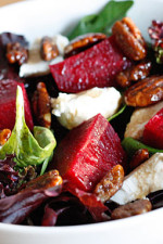 Creamy goat cheese with crunchy sweet pecans and red beets topped with a honey balsamic vinaigrette is like a symphony in your mouth. This salad will make you look like a culinary whiz!