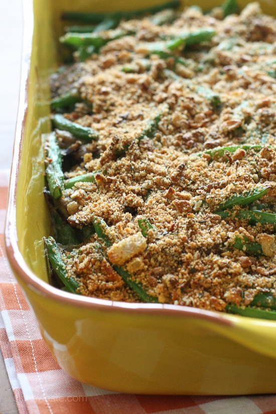 A lightened up, healthier version of the classic green bean casserole made from scratch, no canned soup.