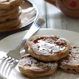 What's better than waking up to eggnog pancakes for the Holidays! I swapped out the milk for Silk Nog in my whole wheat pancake recipe and added extra nutmeg for a fun Holiday twist.