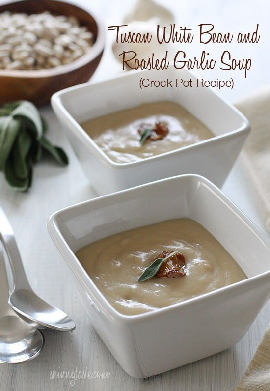 Creamy tuscan white bean soup, with roasted garlic and a touch of sage. So simple and inexpensive to make, and so so good. Leftovers can be frozen.