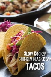 This easy taco recipe requires no pre-cooking, just throw it all in the crock pot and you'll have a delicious weeknight meal. Black beans and chicken breast, simmered in the slow cooker make the perfect filling for tacos, burritos, enchiladas, or even a burrito bowl and it's loaded with fiber.