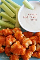 These easy, healthy Buffalo Cauliflower Bites are made in the oven, perfect for football!