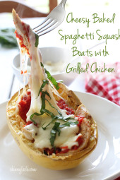 Cheesy-Baked-Spaghetti-Squash-Boats-with-Grilled-Chicken