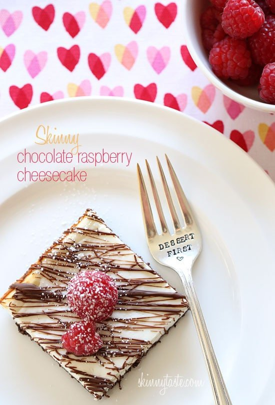 Skinny Chocolate Raspberry Cheesecake | Skinnytaste