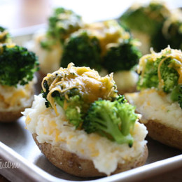 These twice-baked potatoes are so cheesy, stuffed with broccoli and cauliflower, so guilt-free that you'll never have to think twice about making them!