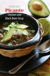 If you love a slow cooker recipe that requires no pre-cooking, then you'll love this spicy black bean soup. Spicy black bean and chicken soup with tomatoes, chiles, peppers and spices is delicious served with cool avocado and a touch of sour cream. Top it with cilantro for freshness and your taste buds will want to do a mariachi dance.