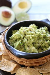 My husband Tommy makes the BEST guacamole! Every party we go to, they always request that we bring the guac! Super easy, only 5 ingredients.